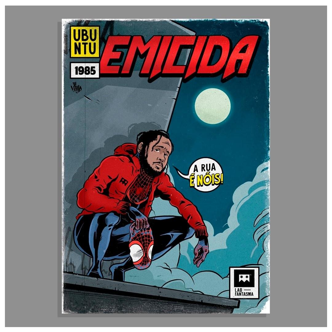 Emicida como Miles Morales, o Homem-Aranha, no projeto Rap em Quadrinhos (Foto: LØAD/Wagner Loud)