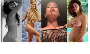 Depois de Bianca Bin postar silhueta, Alinne Moraes compartilhou imagem com os seios à mostra sob blusa de tela; Paolla Oliveira postou corpo nu com os seios cobertos por cachos e Nanda Costa pousou as mãos sobre o peito | Reprodução/Instagram