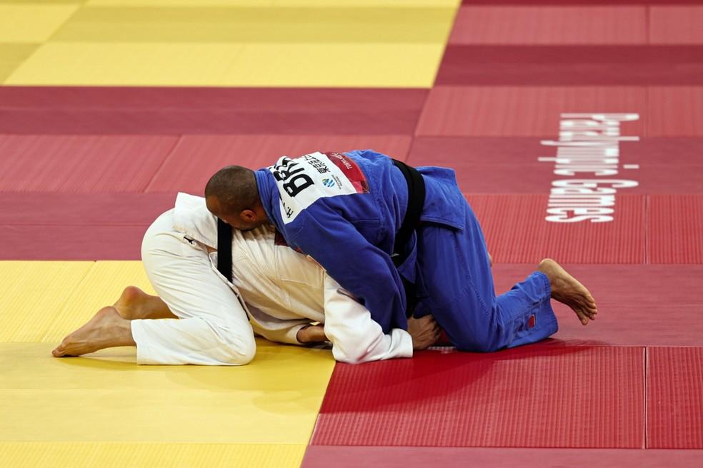 Judoca Harlley Arruda em atuação nas Paralimpíadas de Tóquio — Foto: Takuma Matsushita/CPB