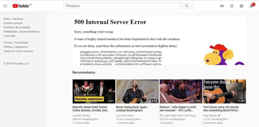 YouTube fora do ar: site apresenta erro e para de reproduzir