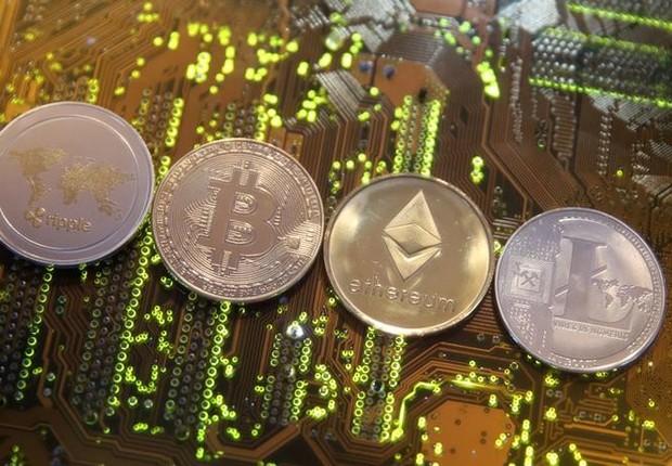 Representação de criptomoedas - criptomoeda - moeda virtual - bitcoin - cripto (Foto: Dado Ruvic/Illustration/Reuters)