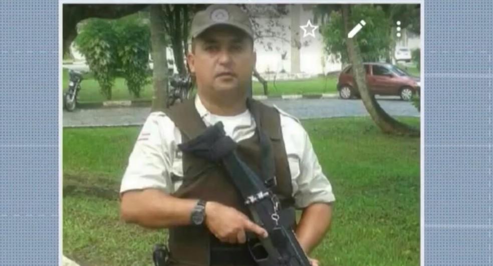 O policial militar foi morto durante assalto a restaurante em Camaçari — Foto: Reprodução/TV Bahia