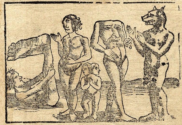 """Uma xilogravura de 1544 de Sebastian Münster retrata, da esquerda para a direita, um """"ciapod"""", um """"ciclope"""", gêmeos siameses, um """"blemmy"""" e uma """"cynocephaly"""" (Foto: The Conversation / Wikimedia Commons )"""