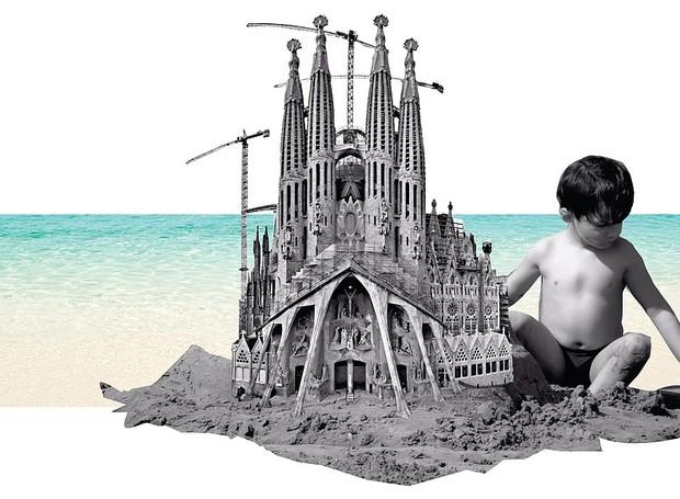 A igreja Sagrada Família é um castelo de areia (Foto: Filipe Vasconcelos/ Reprodução)