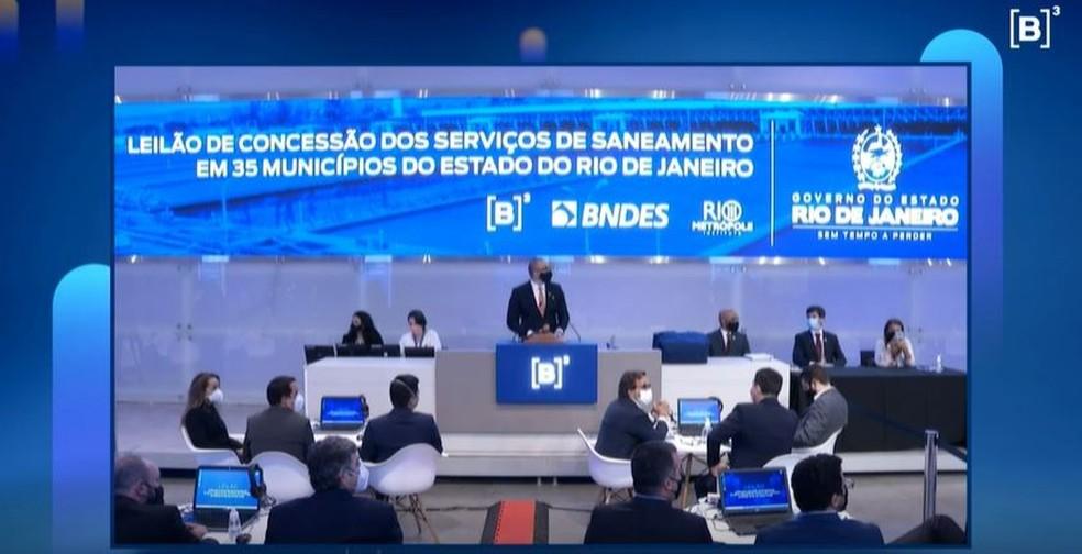 Leilão da Cedae aconteceu na Bolsa de Valores de São Paulo nesta sexta-feira (30)  — Foto: Reprodução/B3