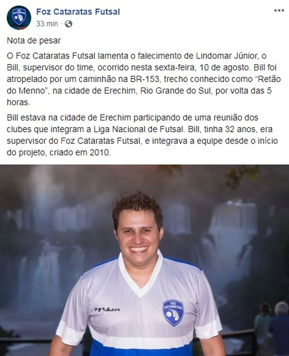 Nota oficial do Foz Cataratas Futsal (Foto: Reprodução/Facebook)