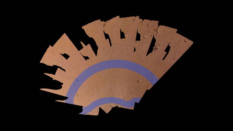 Insight Mars também enviou imagem do seu 'espaço de trabalho': registro é um mosaico de 52 fotos sobrepostas  — Foto: Nasa/JPL-Caltech