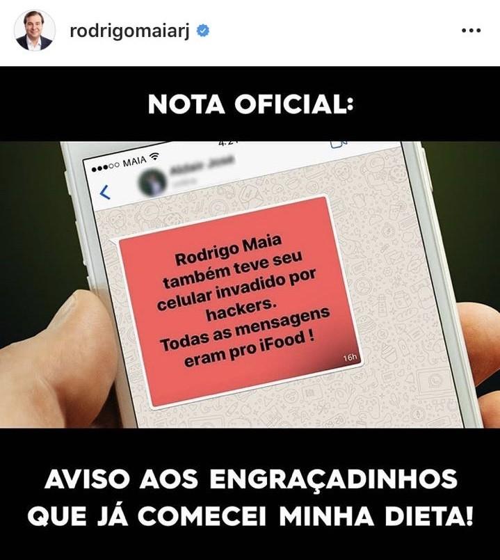 Reprodução de publicação no Instagram do presidente da Câmara Rodrigo Maia