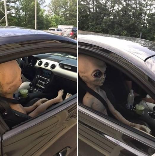 'Alienígena' em carro parado por excesso de velocidade