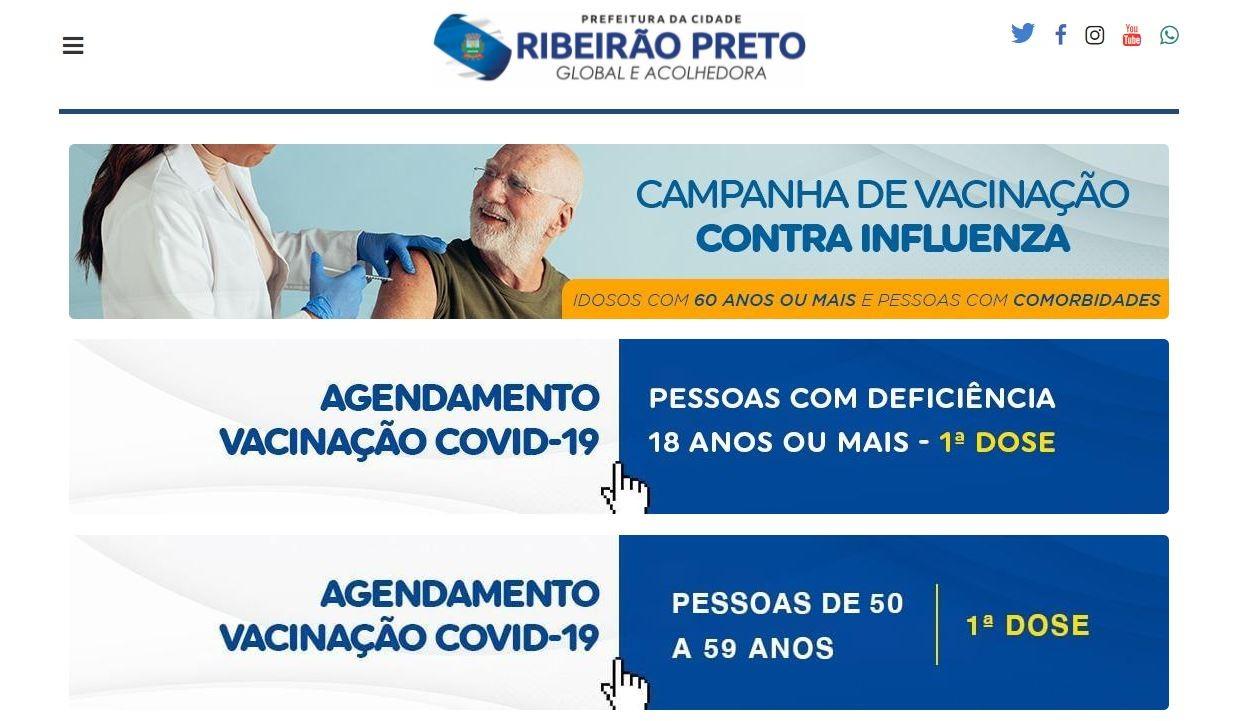 Prefeitura de Ribeirão Preto encerra agendamento da vacina da Covid para moradores de 50 a 59 anos