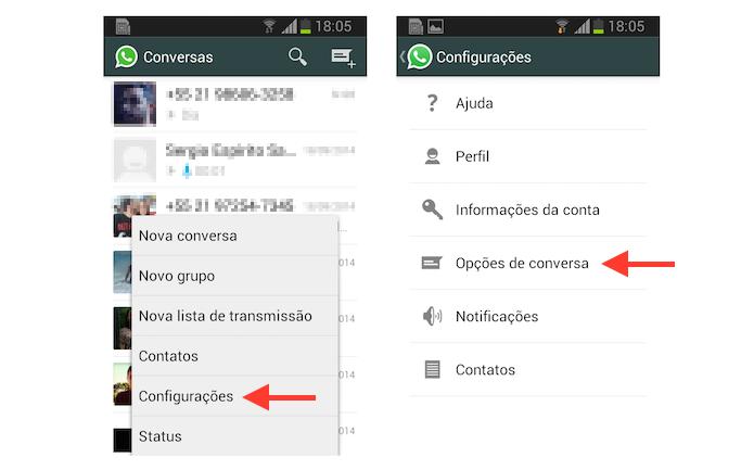 Acessando as opções de conversa no WhatsApp para Android (Foto: Reprodução/Marvin Costa)
