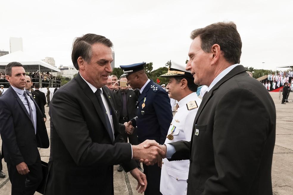 O prefeito do Rio de Janeiro, Marcelo Crivella, e o presidente Jair Bolsonaro. — Foto: Marcos Corrêa/Divulgação/PR