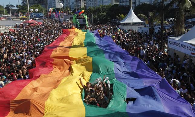 Parada Gay em Copacabana, no dia 18 de novembro de 2012