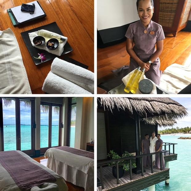 Massagem relaxante e com vista nas Maldivas (Foto: Luiza Souza)