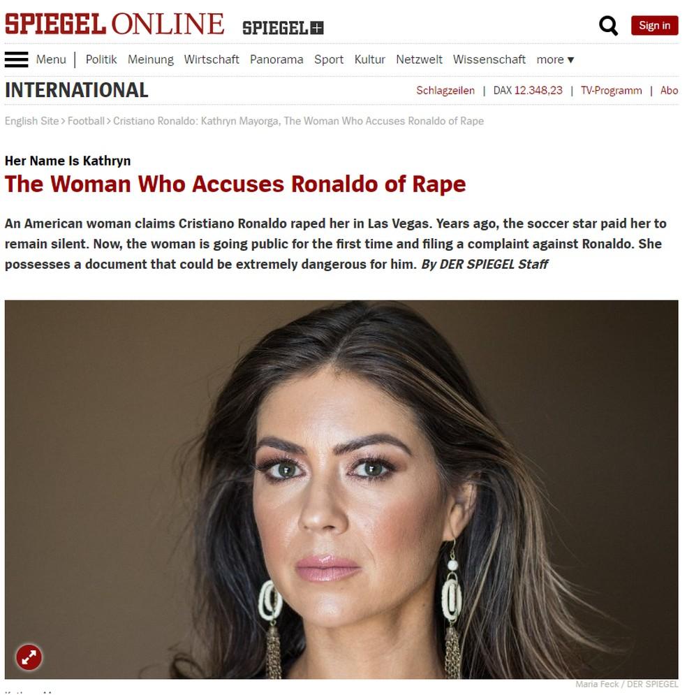 "Kathryn Mayorga concedeu entrevista à revista ""Der Spiegel"" — Foto: Reprodução/Der Spiegel"