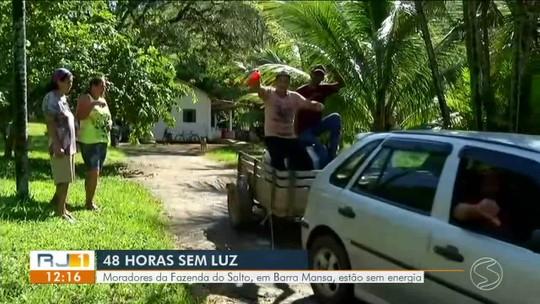 Moradores do distrito de Floriano, em Barra Mansa, estão há dois dias sem energia elétrica