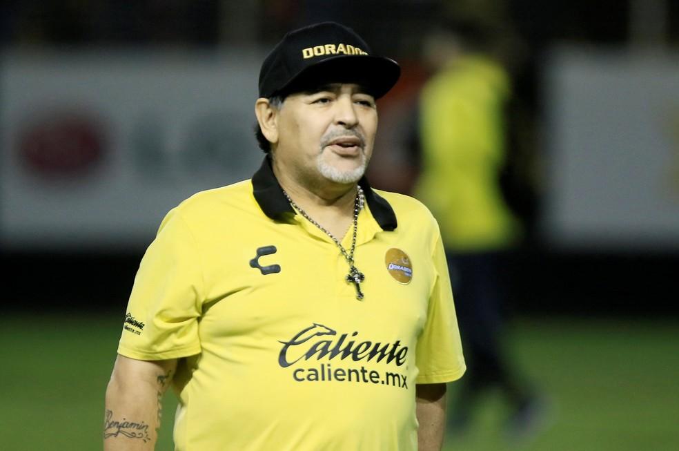 Maradona em treino do Dorados, do México — Foto: REUTERS/Roberto Armenta/File Photo