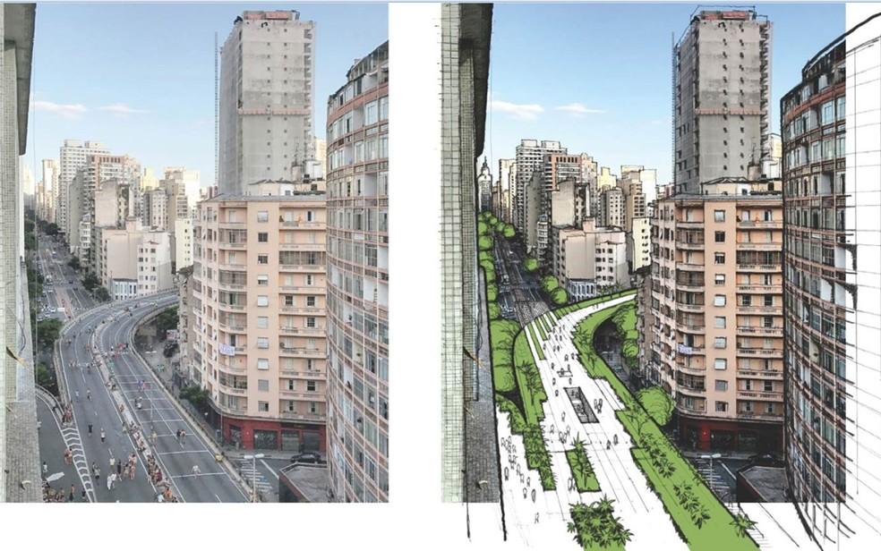 Projeto de criação do Parque Minhocão. Imagem: Divulgação / Prefeitura de SP