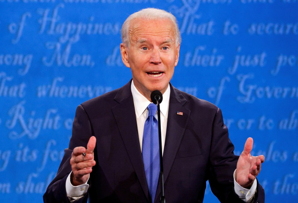 Joe Biden no último debate com Donald Trump, em 22 de outubro — Foto: Reuters/Jonathan Ernst