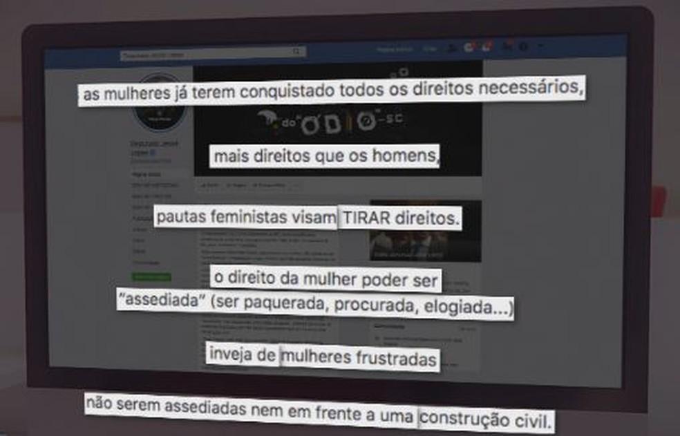 Deputado de SC fez post atacando movimento feminista  — Foto: NSC TV/Reprodução