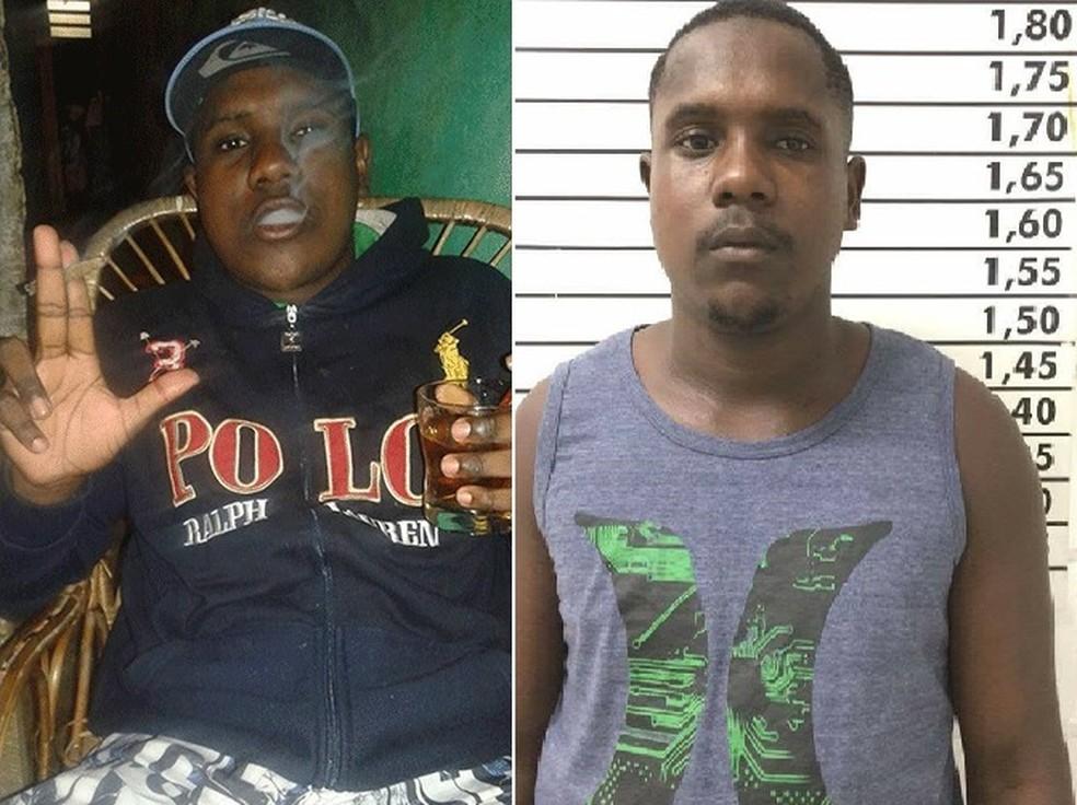 Dois momentos da vida do suspeito: em uma rede social e quando foi preso por tráfico (Foto: Divulgação)