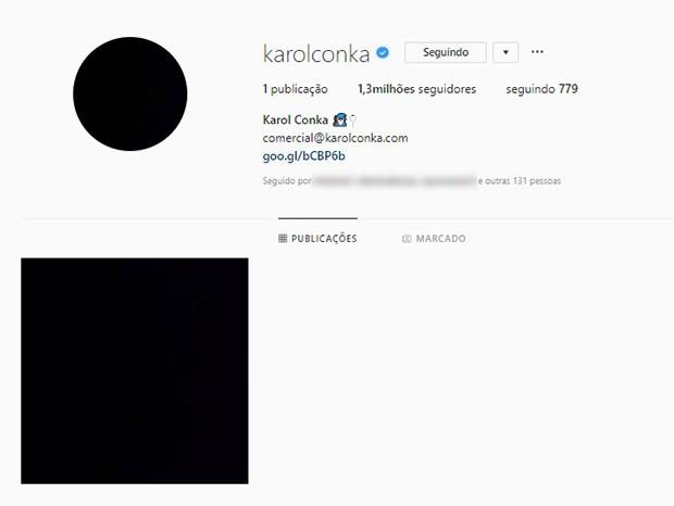 Instagram de Karol Conka amanhece zerado (Foto: Reprodução/Instagram)