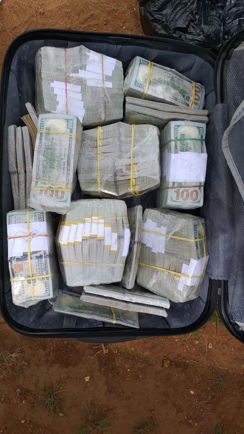 Dólares apreendidos em São Felix do Xingu — Foto: Agência Pará