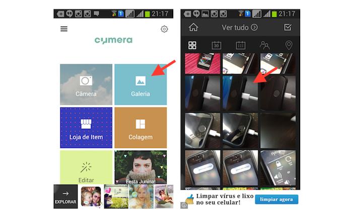 Abrindo uma imagem da biblioteca do Android no Cymera (Foto: Reprodução/Marvin Costa)