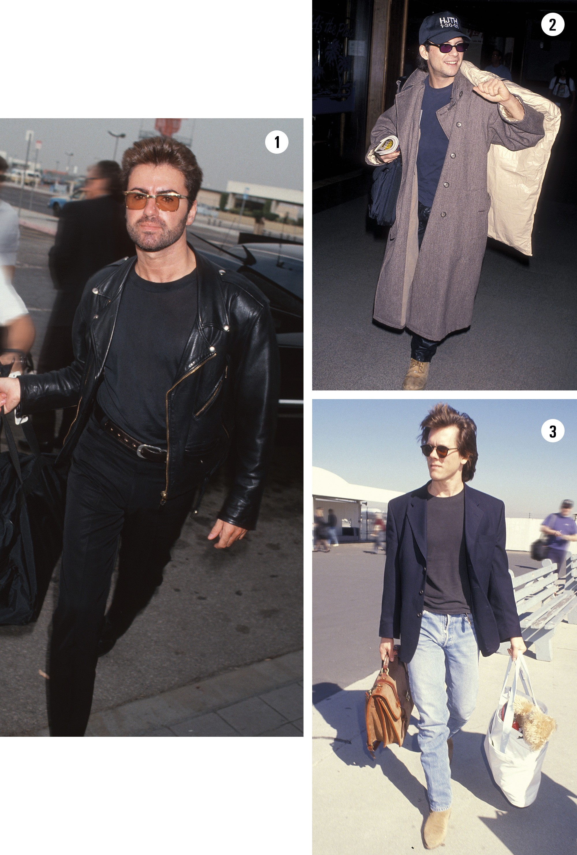 Look aeroporto: 1. George Michael 1992 | 2. Christian Slater 1994 | 3. Kevin Bacon 1991 (Foto: Getty Images)