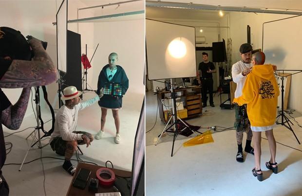 Mateus Verdelho com a modelo Amanda Stefanone para ensaio da Hollywoodogz X Blanks Co. (Foto: Divulgação)