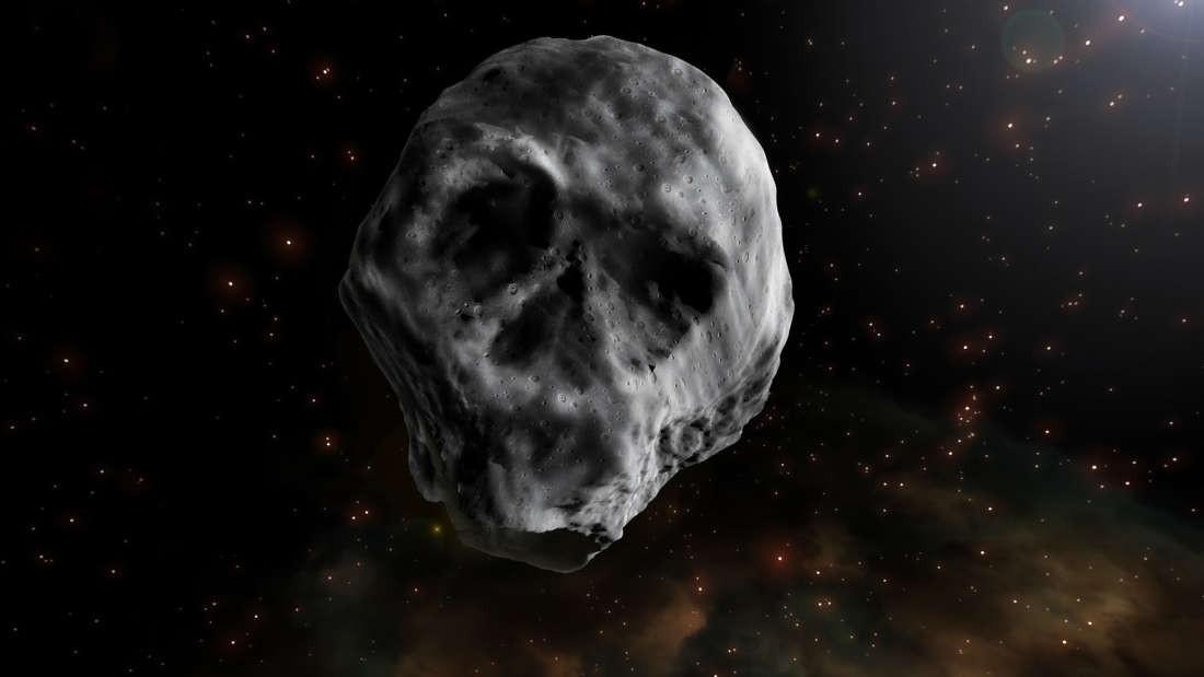 """Ilustração do """"asteroide caveira"""" (Foto: JOSÉ ANTONIO PEÑAS/SINC)"""