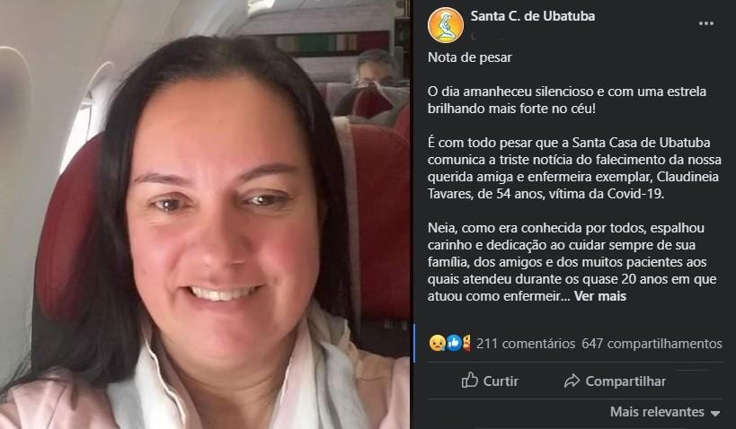 Enfermeira de 54 anos da Santa Casa de Ubatuba morre vítima de Covid-19