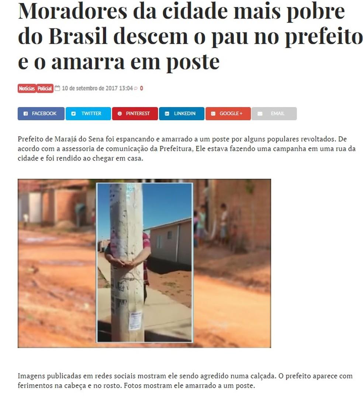 Reprodução de notícia falsa que circula na internet (Foto: Reprodução/ Facebook)