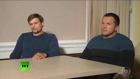 Russos apontados pelo Reino Unido como suspeitos do caso Skripal aparecem em TV e dizem que não são agentes