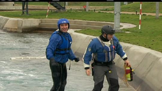 Marcelo Barreto encara o gélido rio onde acontecerão as provas de canoagem de Londres 2012