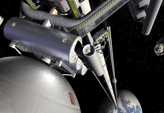 Japão pretende construir um elevador da Terra ao espaço, capaz de transportar 30 pessoas em uma espécie de contêiner em forma oval (Foto: NASA)