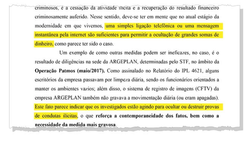 Trecho do inquérito do pedido de prisão de Temer em que o juiz Marcelo Bretas cita os motivos da determinação — Foto: Reprodução