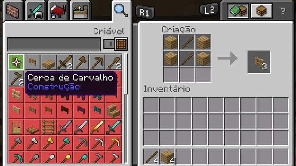 Utilize 4 blocos de Madeira e 2 Gravetos em uma Bancada em Minecraft para criar 3 Cercas — Foto: Reprodução/Rafael Monteiro