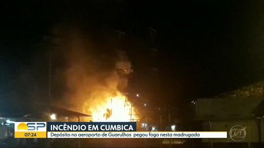 Incêndio atinge galpão do aeroporto de Cumbica, em Guarulhos
