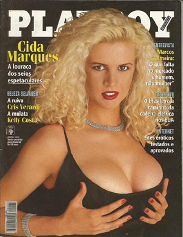 Cida Marques no auge da carreira em sua capa da Playboy (Foto: Reprodução) (Foto: Reprodução)