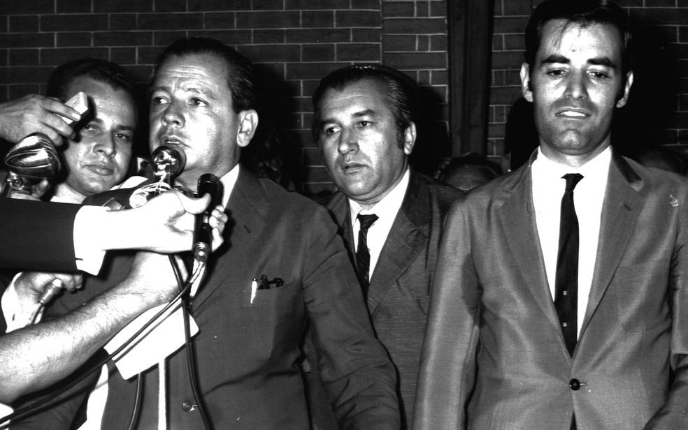 O ex-governador de São Paulo Abreu Sodré (1917-1999) e o ex-prefeito de Ribeirão Preto (SP) Antônio Duarte Nogueira (1937-1990) — Foto: Arquivo Pessoal