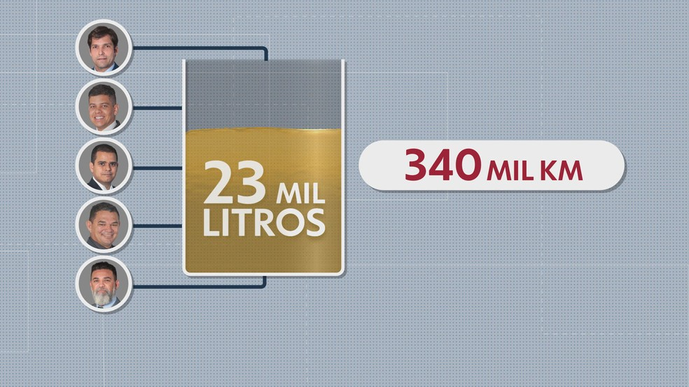 Cinco deputados do DF que mais usaram a verba indenizatória em 2019 com gasolina — Foto: TV Globo/Reprodução