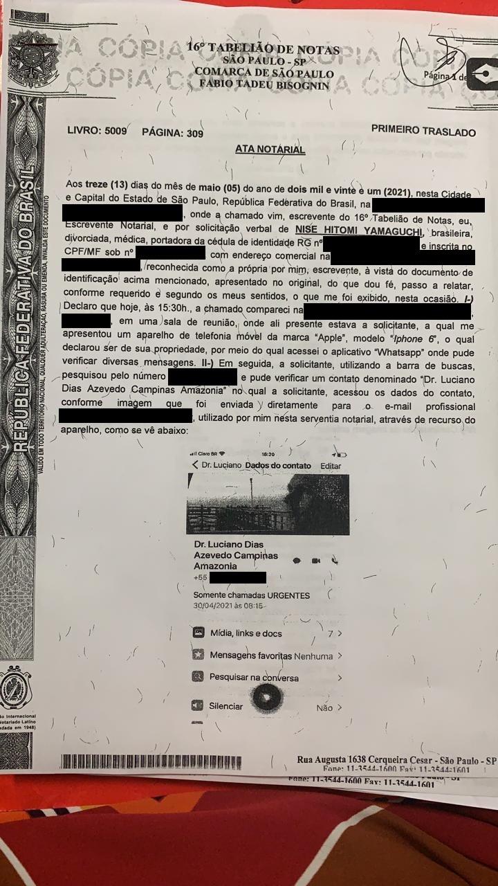 Primeira página da ata notarial entregue por Nise Yamaguchi à CPI da Covid no Senado