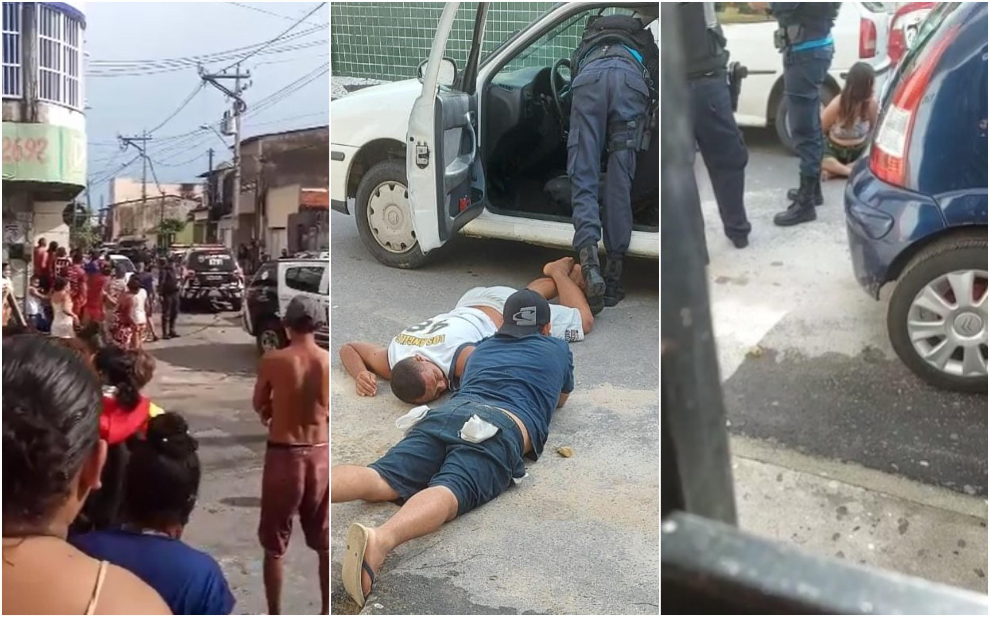 Perseguição policial e troca de tiros terminam com três presos em Fortaleza; assaltante é baleado