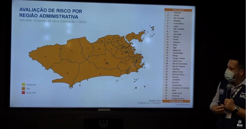 Risco de transmissão da Covid-19 continua alto em toda a cidade, segundo Prefeitura do Rio. — Foto: Reprodução