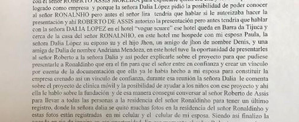 Trecho do depoimento de Wilmondes relata aproximação a Ronaldinho — Foto: Reprodução
