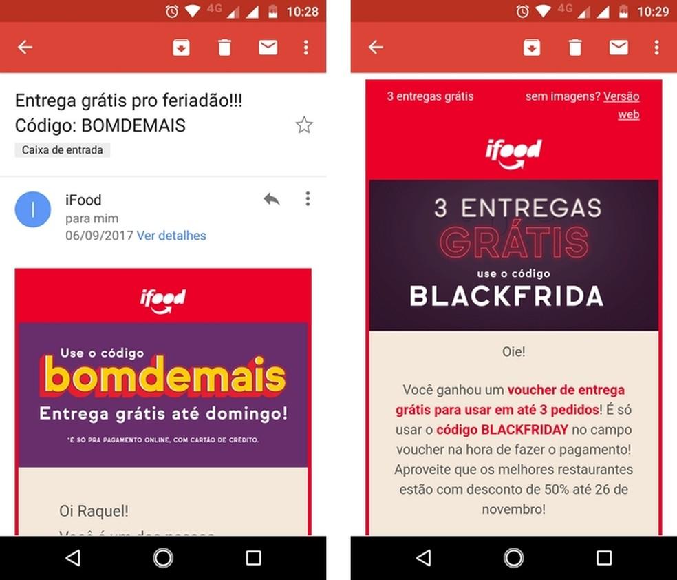 E-mails do iFood com voucher de desconto (Foto: Reprodução/Raquel Freire)