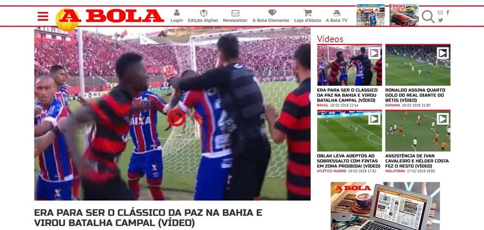 """O A Bola tratou o clássico como uma """"batalha campal"""" (Foto: Reprodução)"""