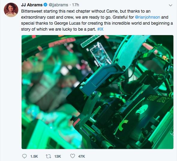 O tuíte do cineasta J.J. Abrams anunciando o início das gravações de Star Wars: Episódio IX (Foto: Twitter)