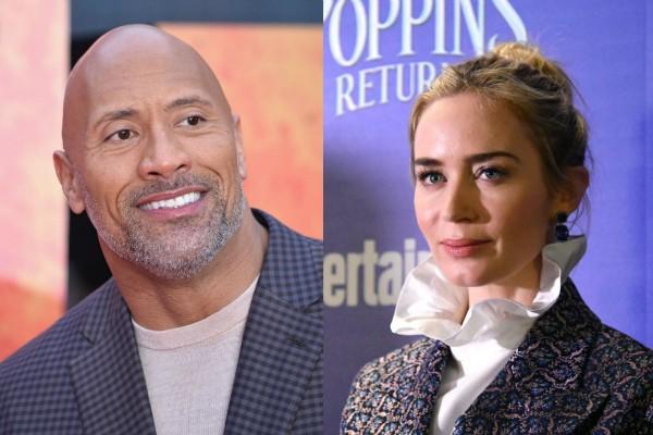 "Dwayne ""The Rock"" e Emily Blunt (Foto: Getty Images)"